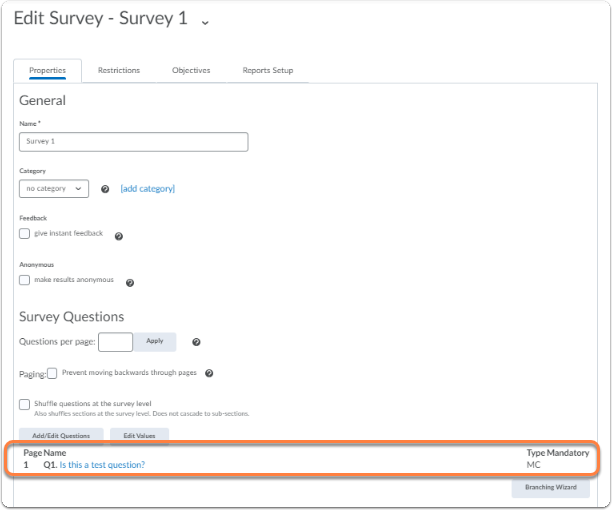 Back to Editing Surveys page, and overview of the newly created questions will appear