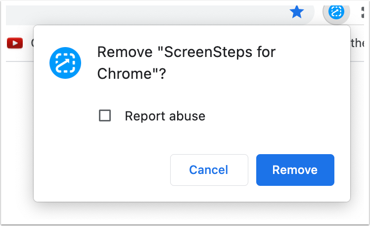 "Remove ""ScreenSteps for Chrome""?"