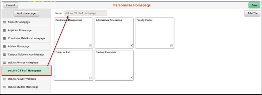 Active hompage Name displays