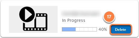 You can see the progress in the upload window. In this step you can also Delete the video.