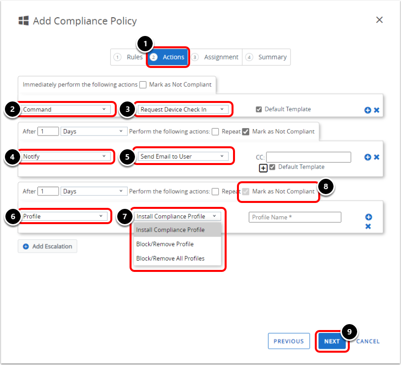 Add Compliance Policy Action in Workspace ONE UEM when configuring BitLocker encryption.