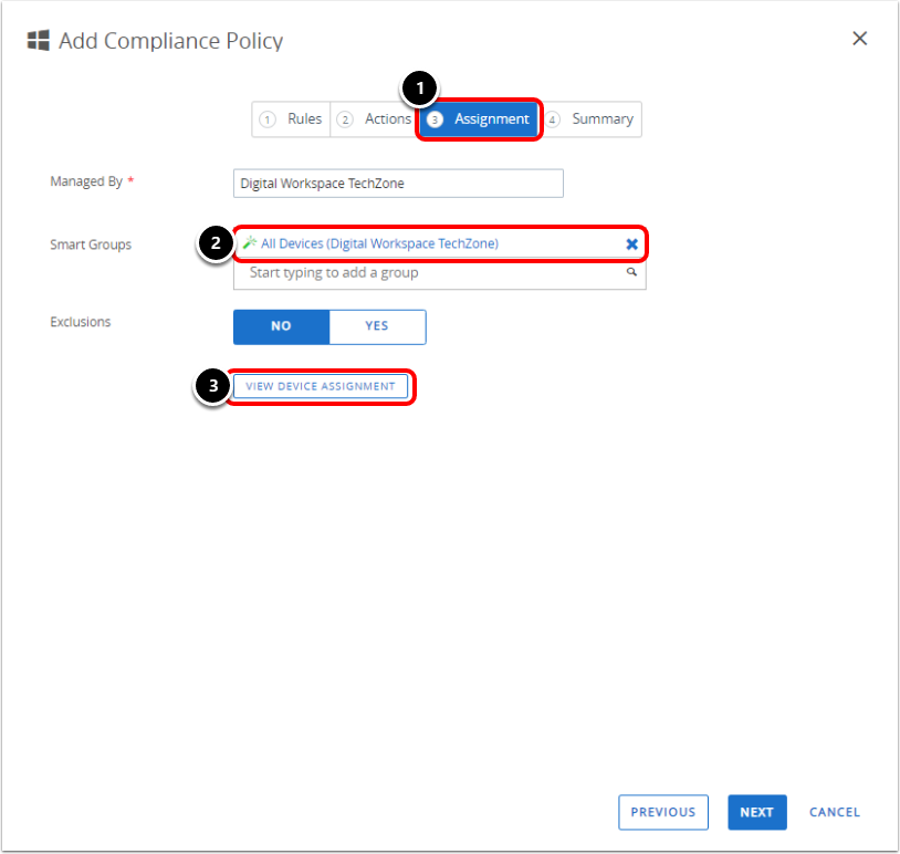 Assign the Compliance policy in Workspace ONE UEM for Windows 10 BitLocker.