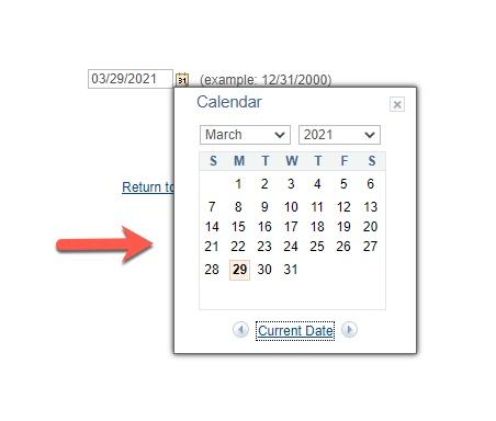 Arrow pointing to Calendar