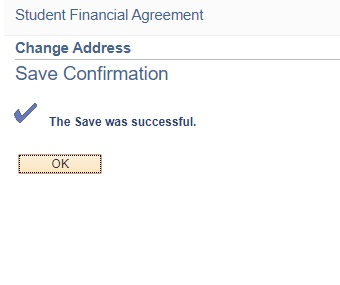 Save Confirmation message