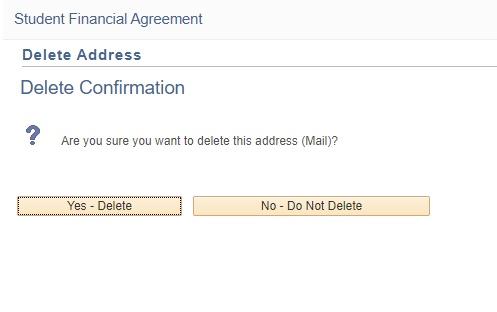 Delete Confirmation message