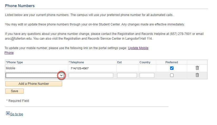 Highlight of Phone Type drop-down caret