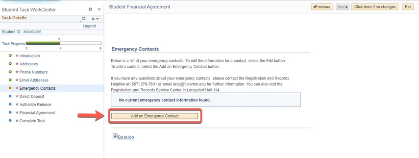 Arrow pointing to Add an Emergency Contact