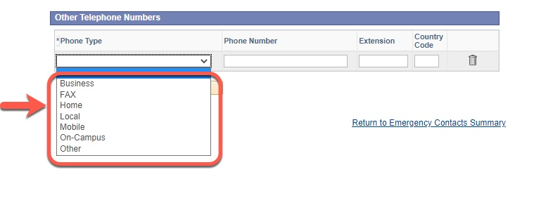 Arrow pointing to Phone Type options