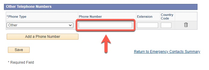 Arrow pointing to Phone Number field