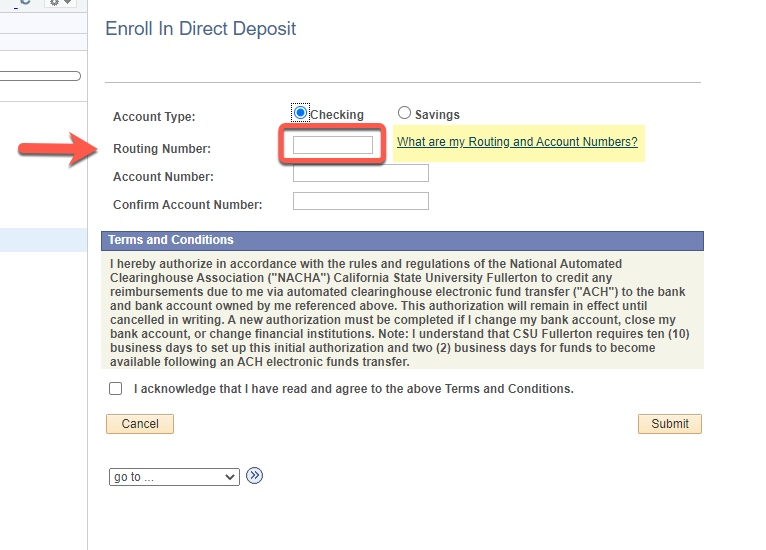 Arrow pointing to Routing Number field