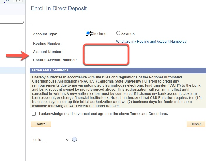 Arrow pointing to Account Number and Confirm Account Number fields