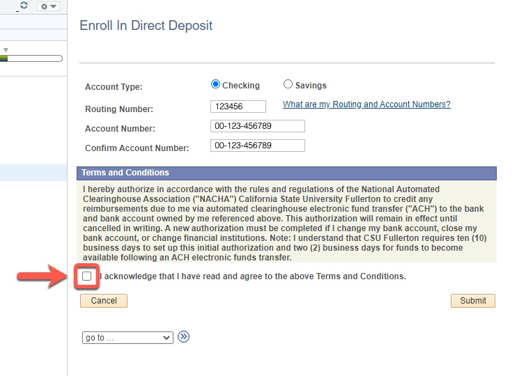 Arrow pointing to acknowledgement checkbox