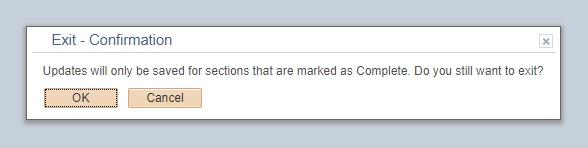 Exit Confirmation message