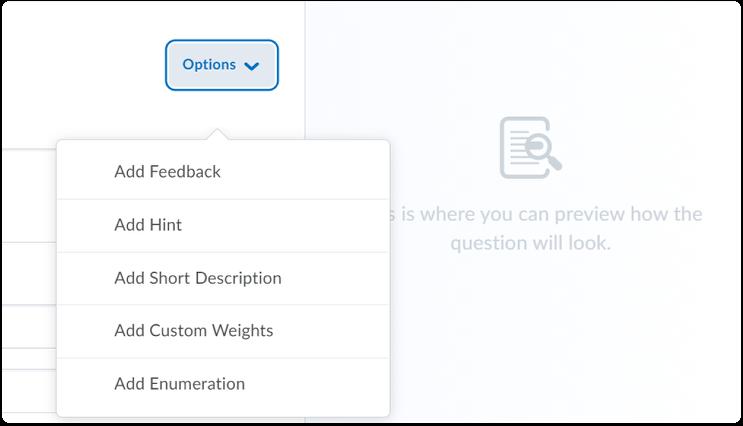Options - drop-down menu