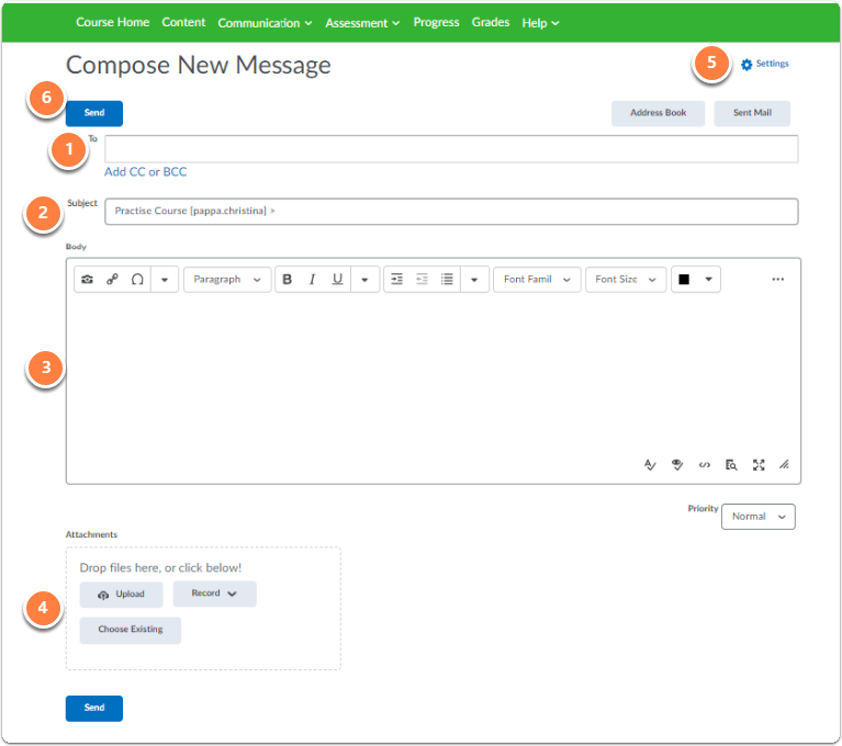Compose new message page