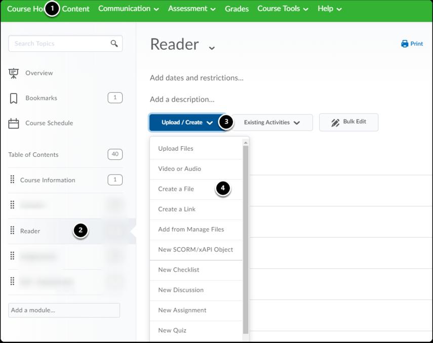 Content|module|Upload|Create a File