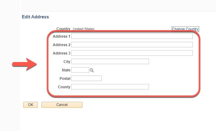 Highlight of Edit Address fields