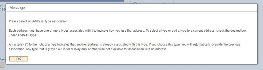 Address Type Association message