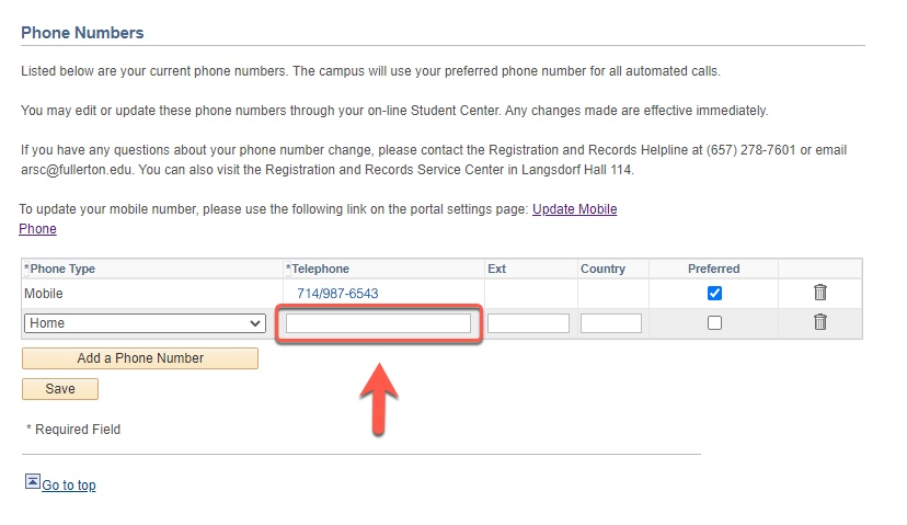 Arrow pointing to Telephone number field