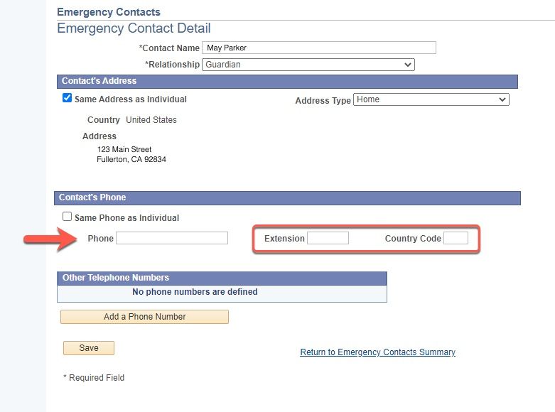 Arrow pointing to Extension and Country Code fields