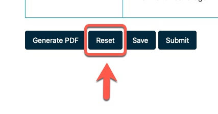 Arrow pointing to Reset button