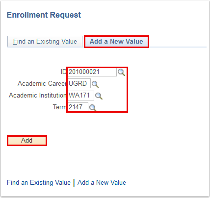 Enrollment Request add a new value page