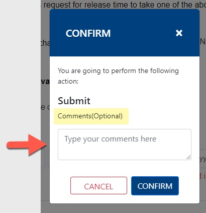 Arrow pointing to Comments(Optional) field