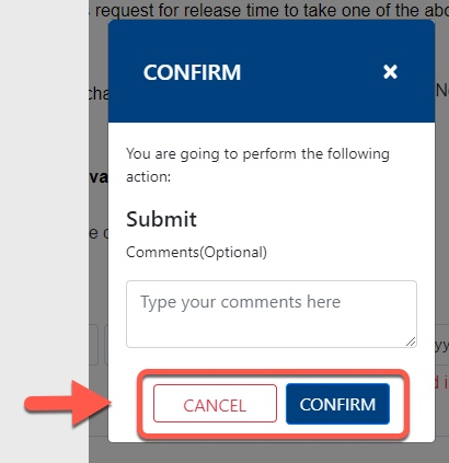 Arrow pointing to Cancel and Confirm button