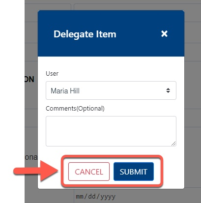 Highlight of Cancel and Submit button