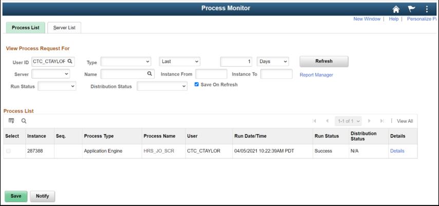 Process List tab and screen