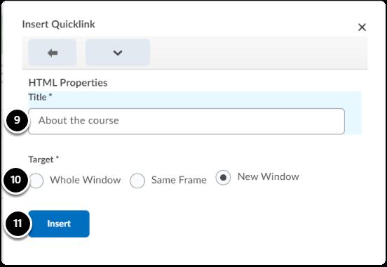 Insert quicklink window