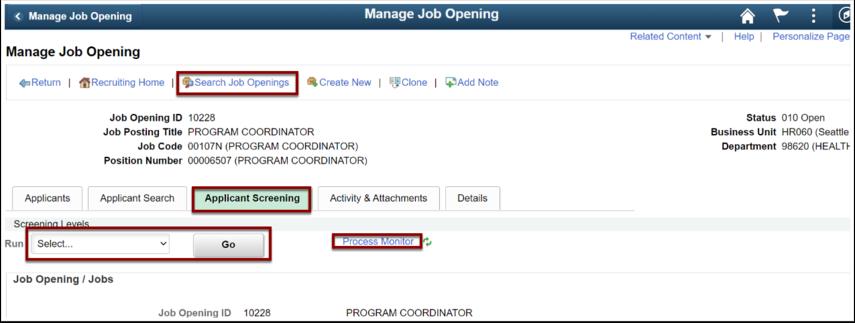 Manage Job Openings, Applicant Screening tab