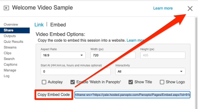 Copy Embed Code and close pop up