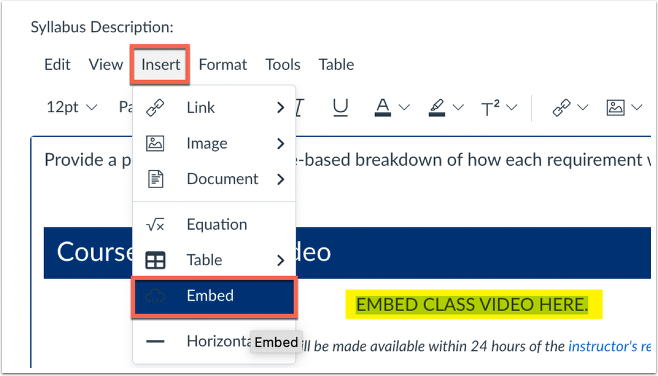 insert embed code from RCE