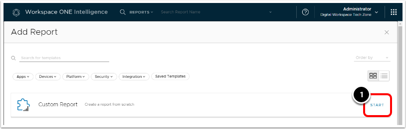 Add Report in Workspace ONE Intelligence for BitLocker encryption.