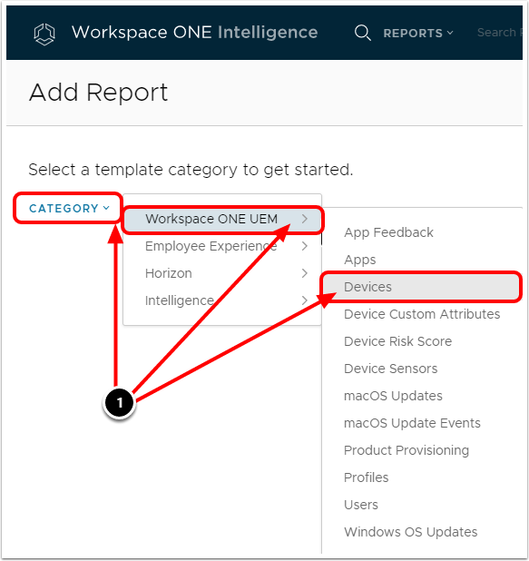 Add Report Category in Workspace ONE Intelligence when configuring BitLocker for Windows 10.