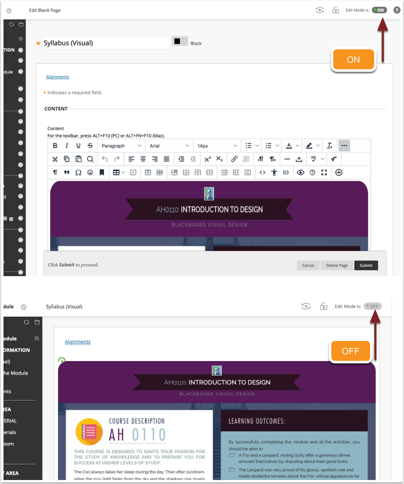 Example of Edit mode impact on same content area