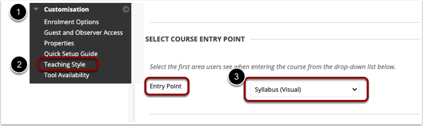 Setting your course entry point