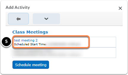 add activity, meeting in virtual classroom