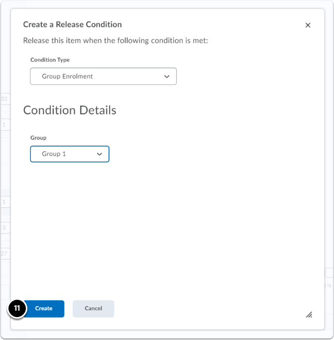 Once the Release Conditions have been created > Click on Create