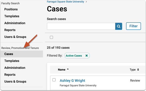"Select ""Cases"" from the left hand navigation menu to open the case list"