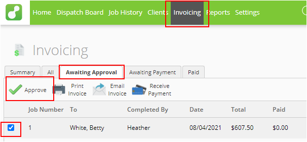 Approving invoice