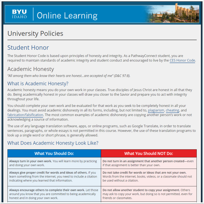 BYU Pathway Worldwide University Policies