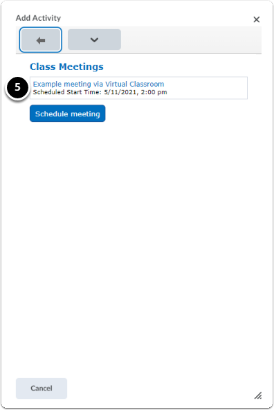 Pop-up window Add activity, click on Title of meeting