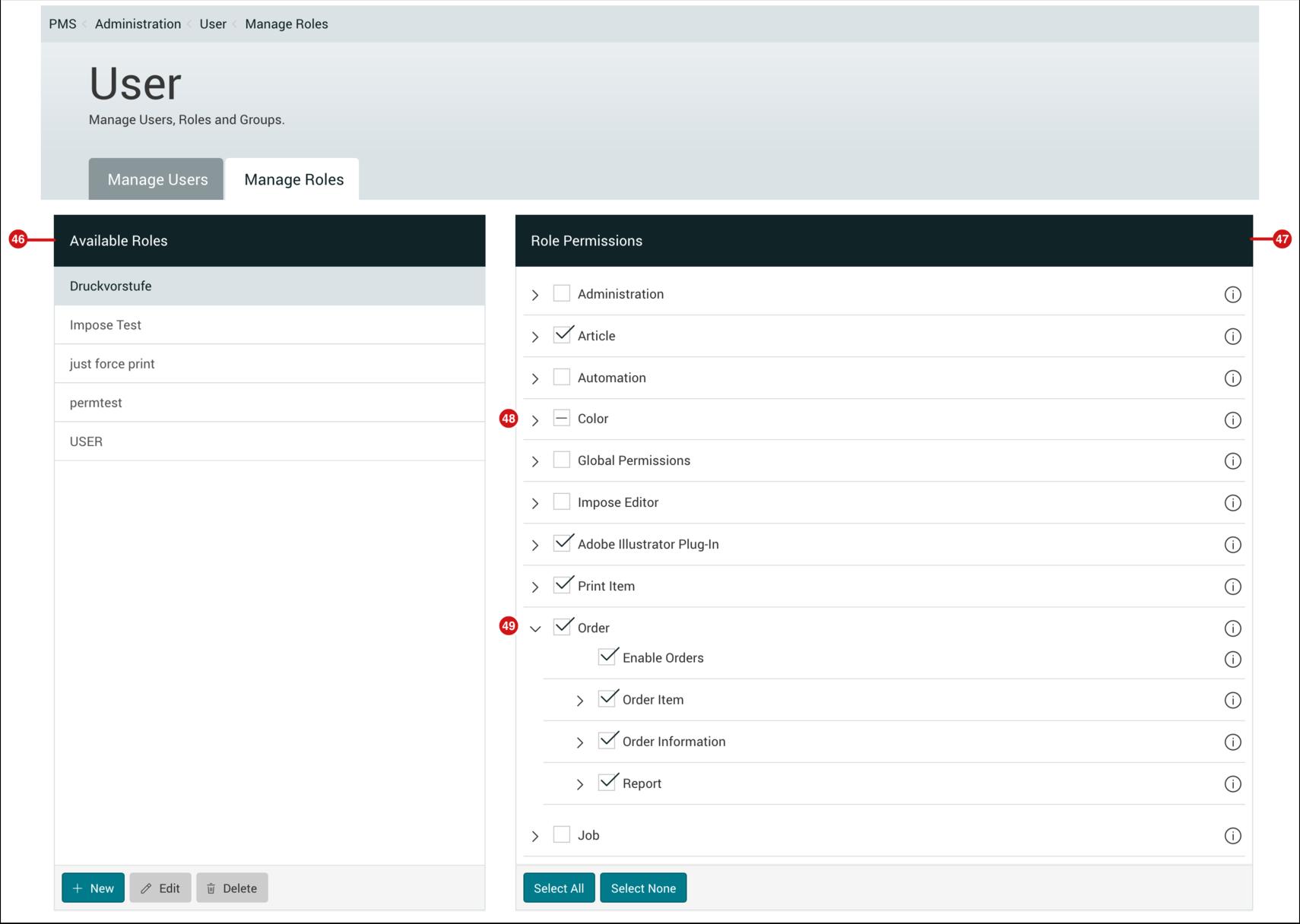 PMS WebGui :: Manage Roles