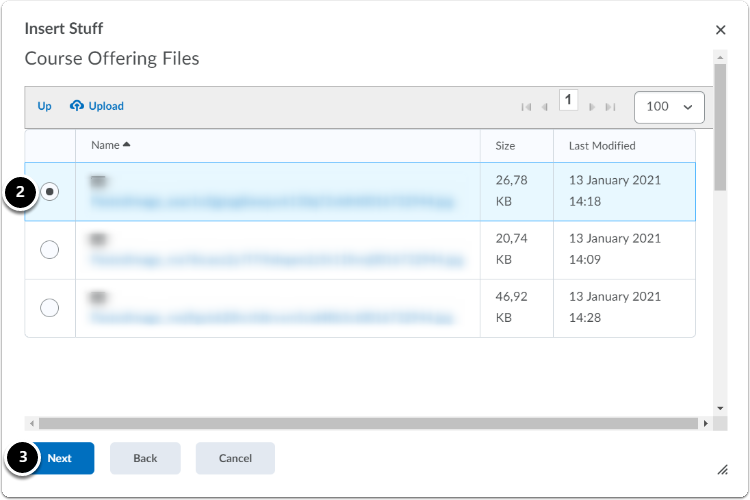 Course Offering files|Select the file