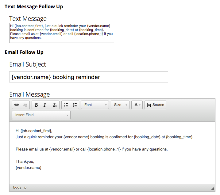 Configure the templates for your messages