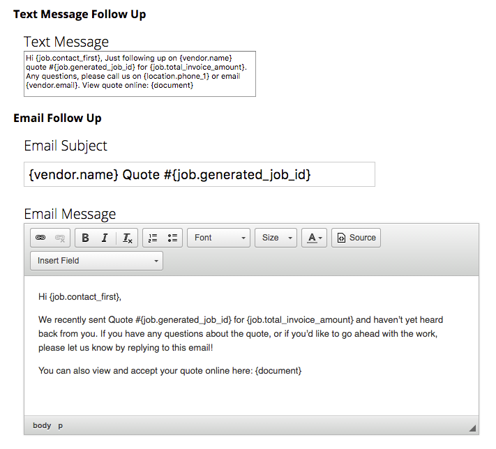 Customise the default message templates