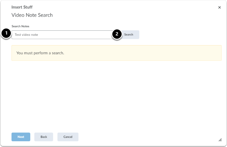 Video Note Search | Type keywords in the search bar