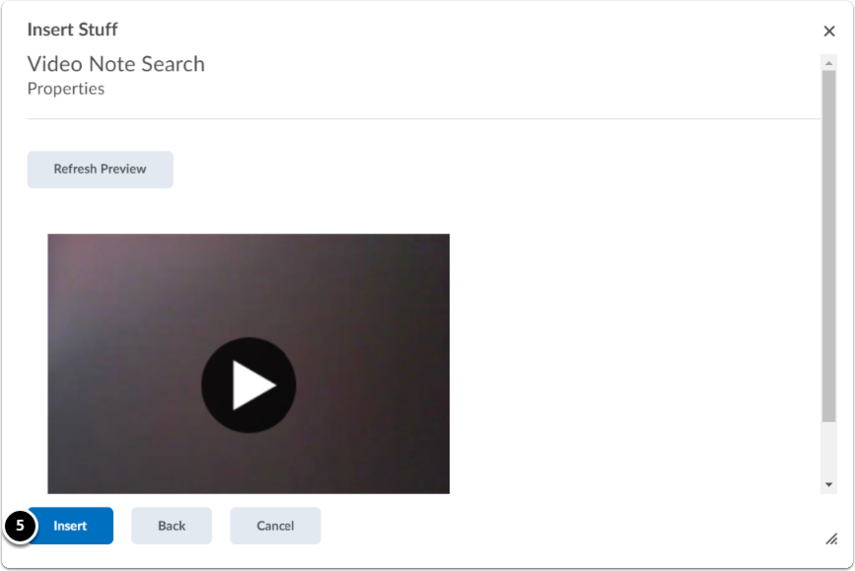 Video Note Search | Refresh Preview and Insert